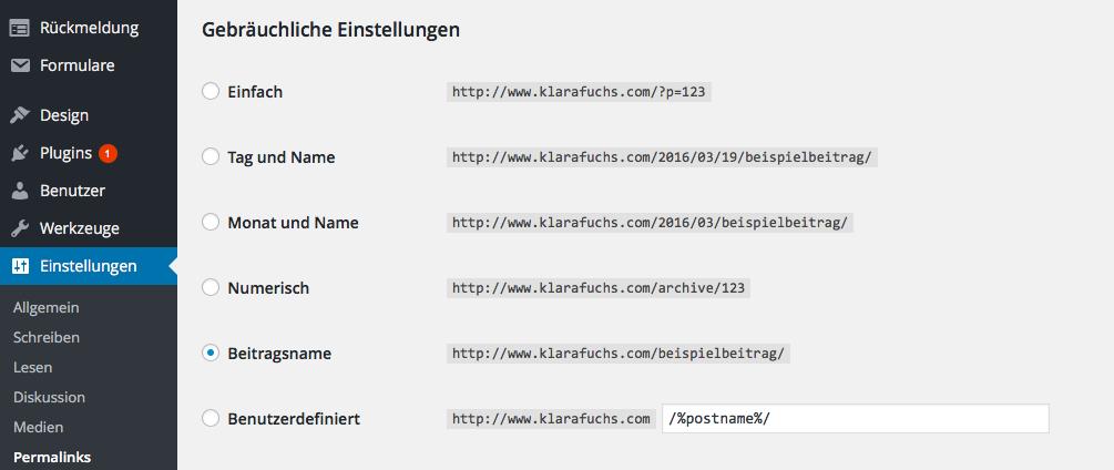 URL-Struktur umstellen