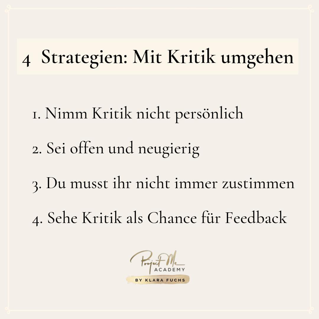 Kurze Infografik: 4 Strategien um mit Kritik umzugehen