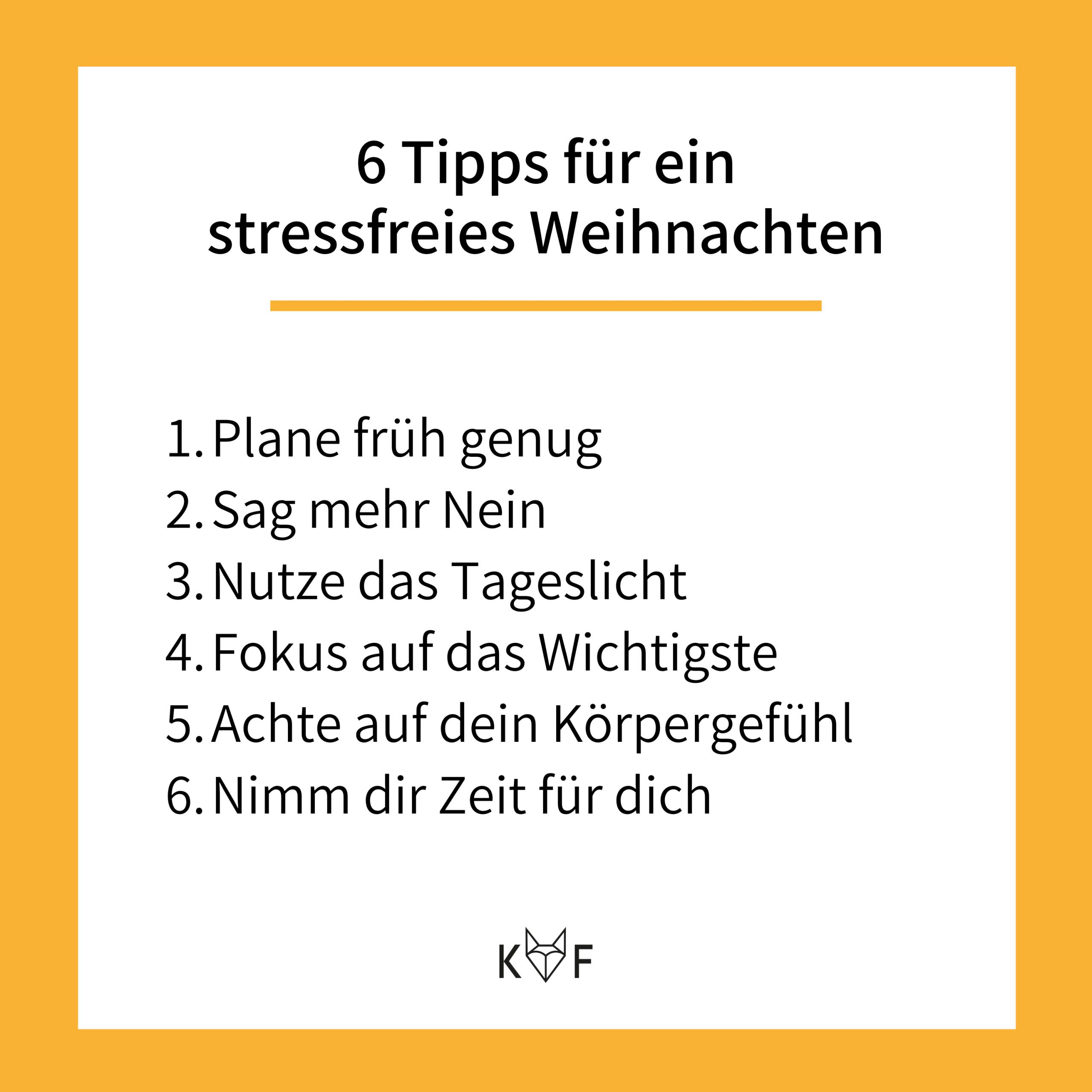 Infografik: 6 Tipps für ein stressfreies Weinachten