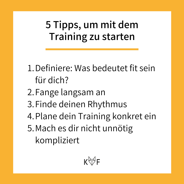 Infografik: 5 Tipps um mit dem Training zu beginnen