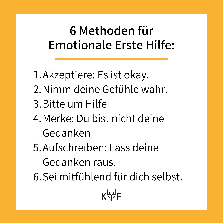 Infografik: 6 Methoden für Emotionale Erste Hilfe
