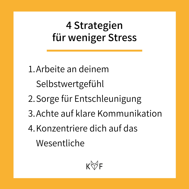 Infografik: 4 Strategien für weniger Stress